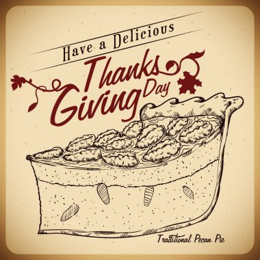 Traditional Pecan Pie in Hand Drawn Style, Vector Illustration