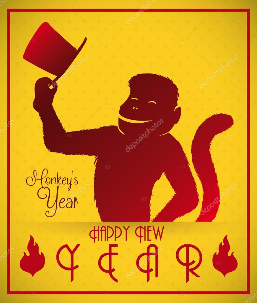 Happy Gent Monkey Celebrating the Chinese New Year, Vector Illustration