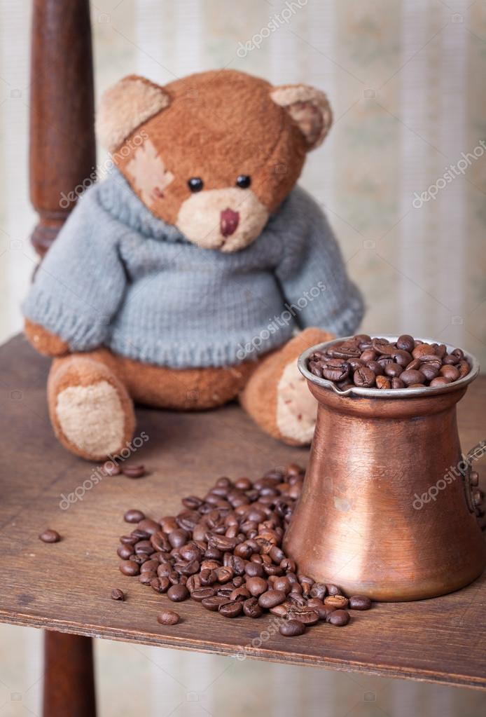 Teddy Bear And Coffee Vintage Toned Picture With Retro Wallpaper