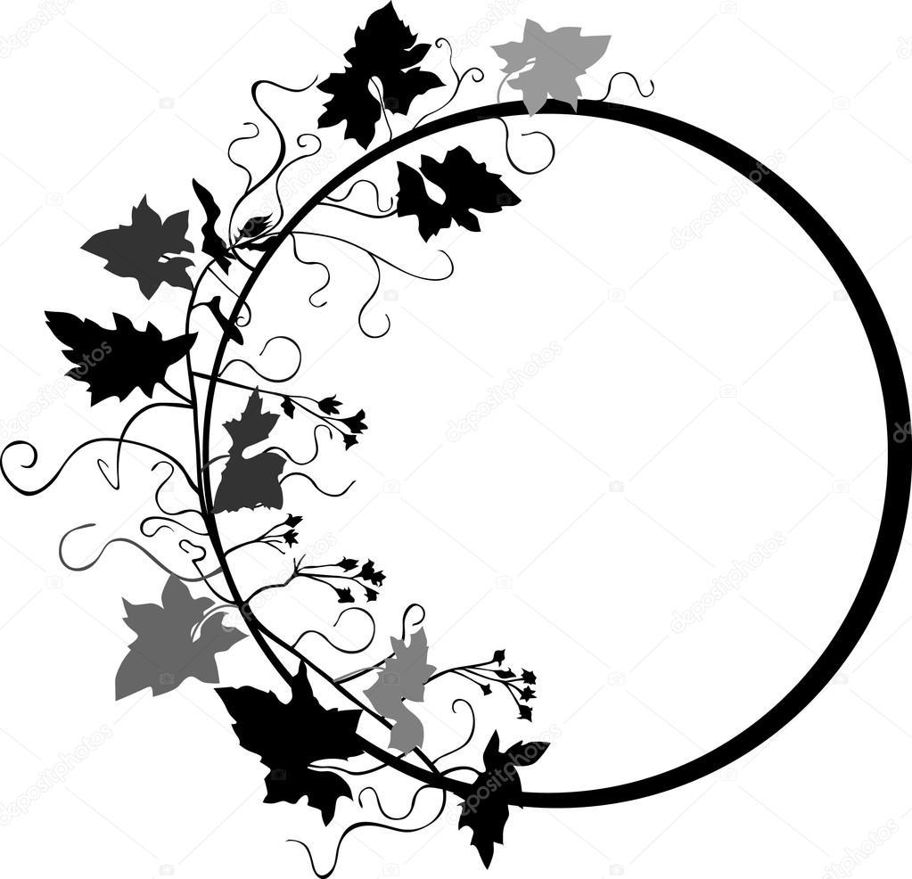Circle floral frame V
