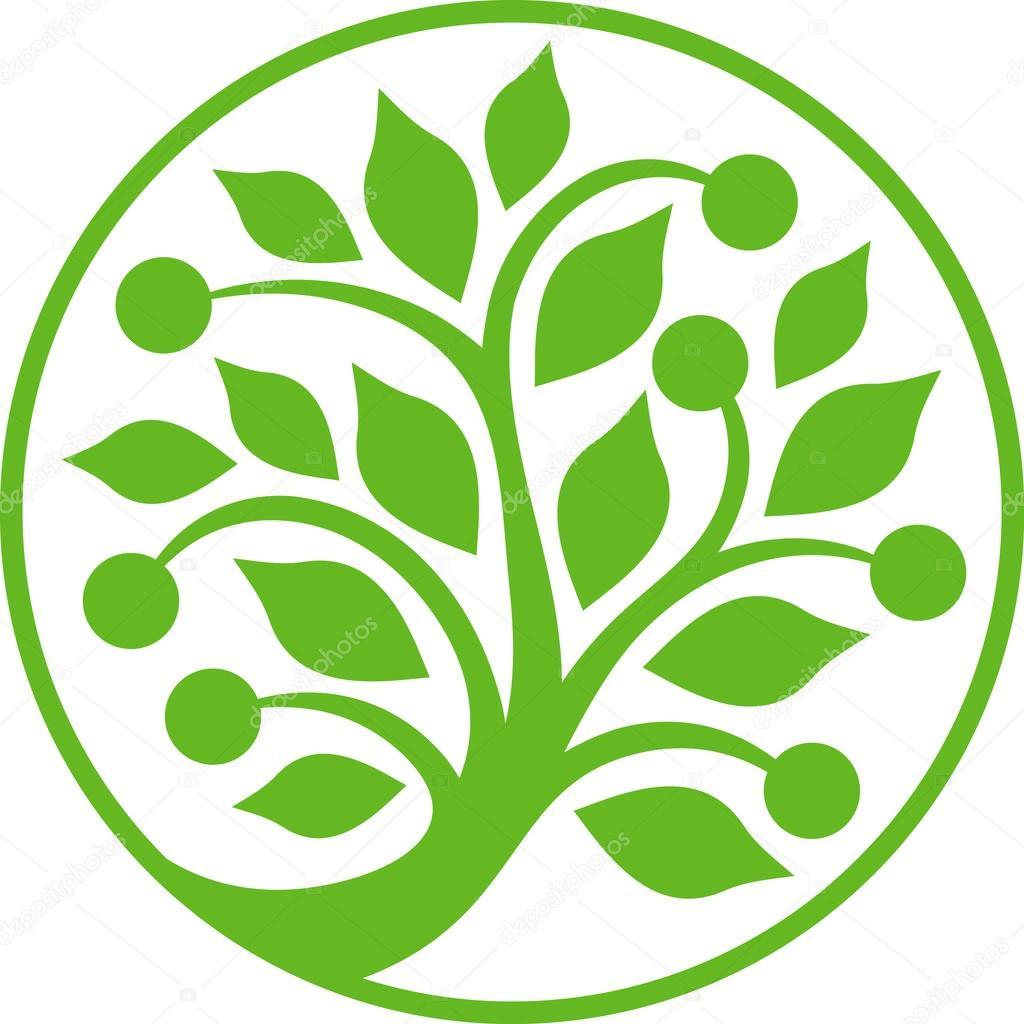 Circular green tree.