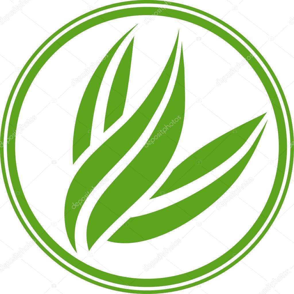 Green leafy emblem