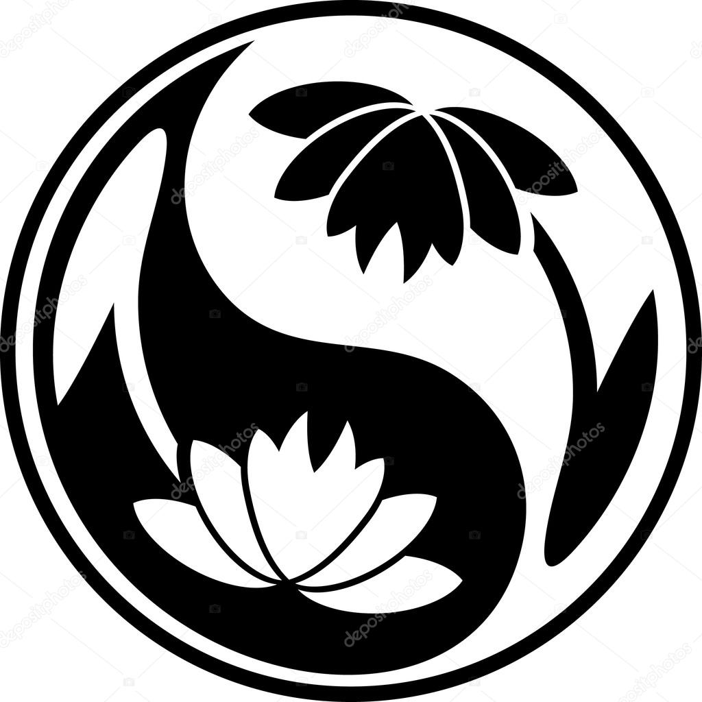 Lotus Yin Yang symbol