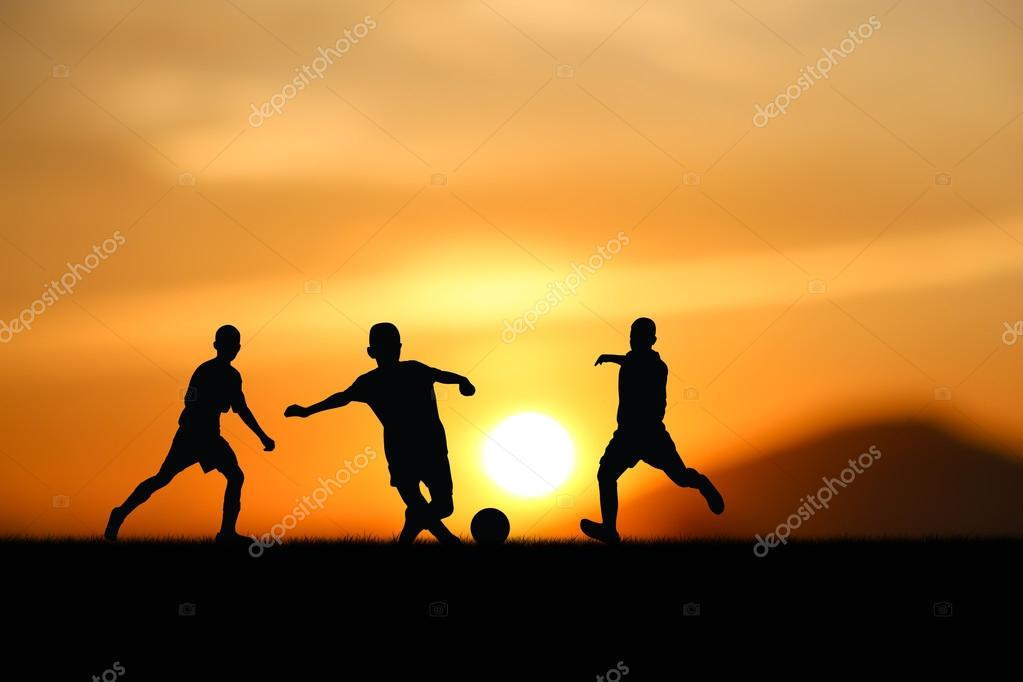 the kids play a  footbal