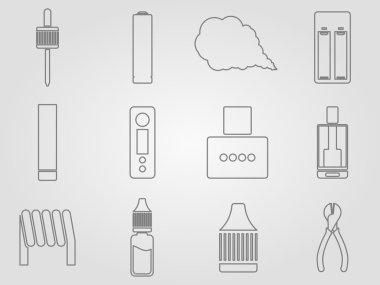 Vaping icons set