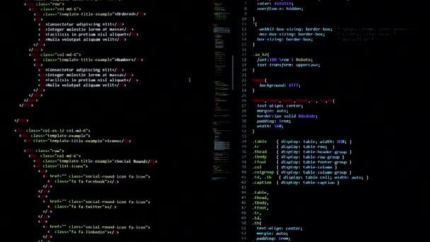 vývojářský software php, python, java script, html zdrojový kód na monitoru. psaní skriptu vývojáře softwaru. kódování programu. programátor edituje pozadí kódu. Technologie pozadí close up shot.