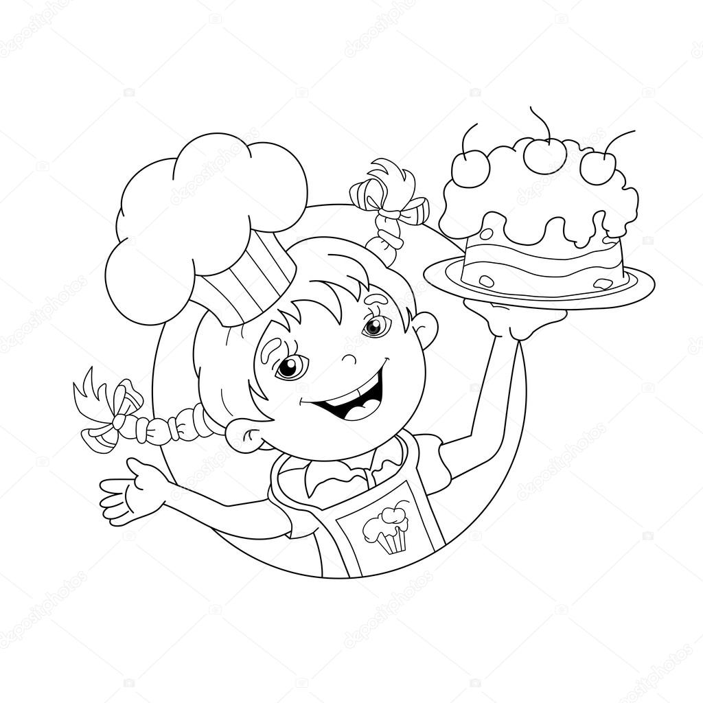 Coloring Page Outline Of cartoon Girl chef with cake — Stockvektor ...