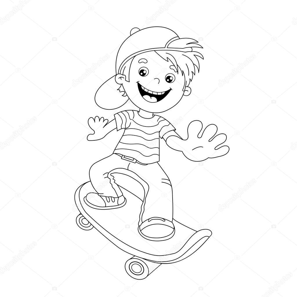 Immagini Skateboard Cartoon Boy Disegni Da Colorare Pagina Muta