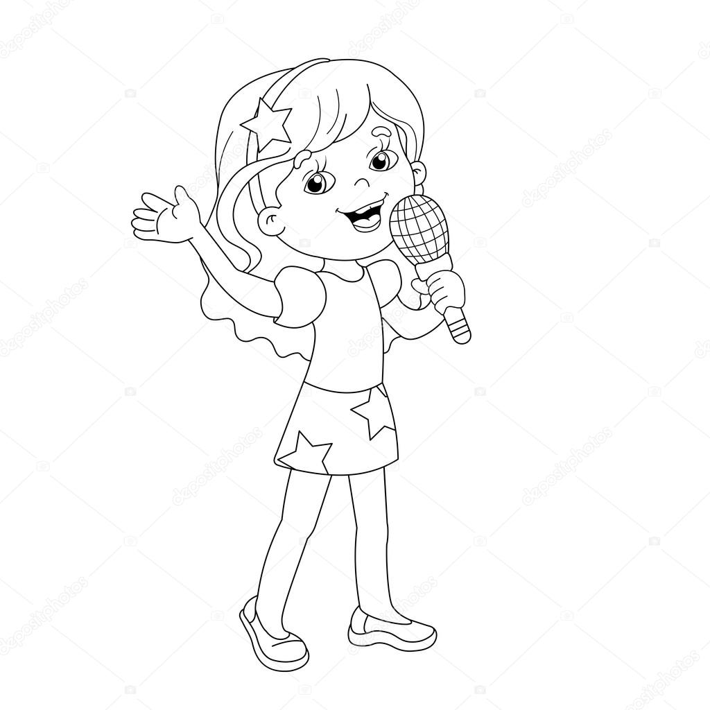 coloring page outline of cartoon girl singing a song stock vector 110525720