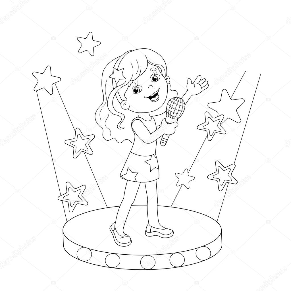 coloring page outline of singing a song on stage