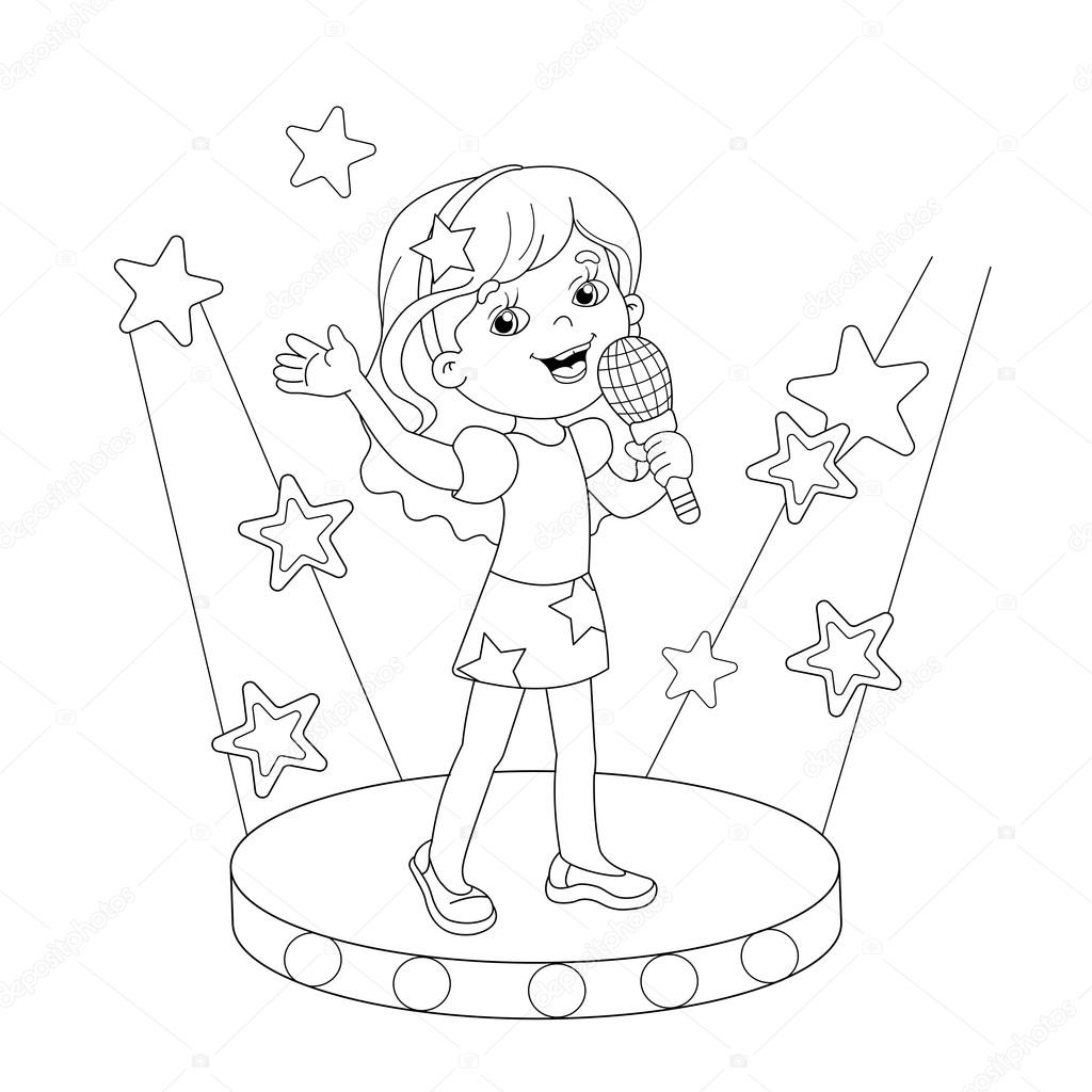 Images Girl Singing Coloring Page Coloring Page Outline