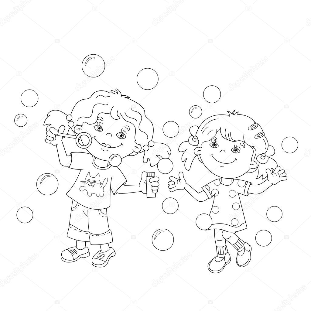 coloring page outline of cartoon girls blowing soap bubbles together coloring book for kids vector by oleon17