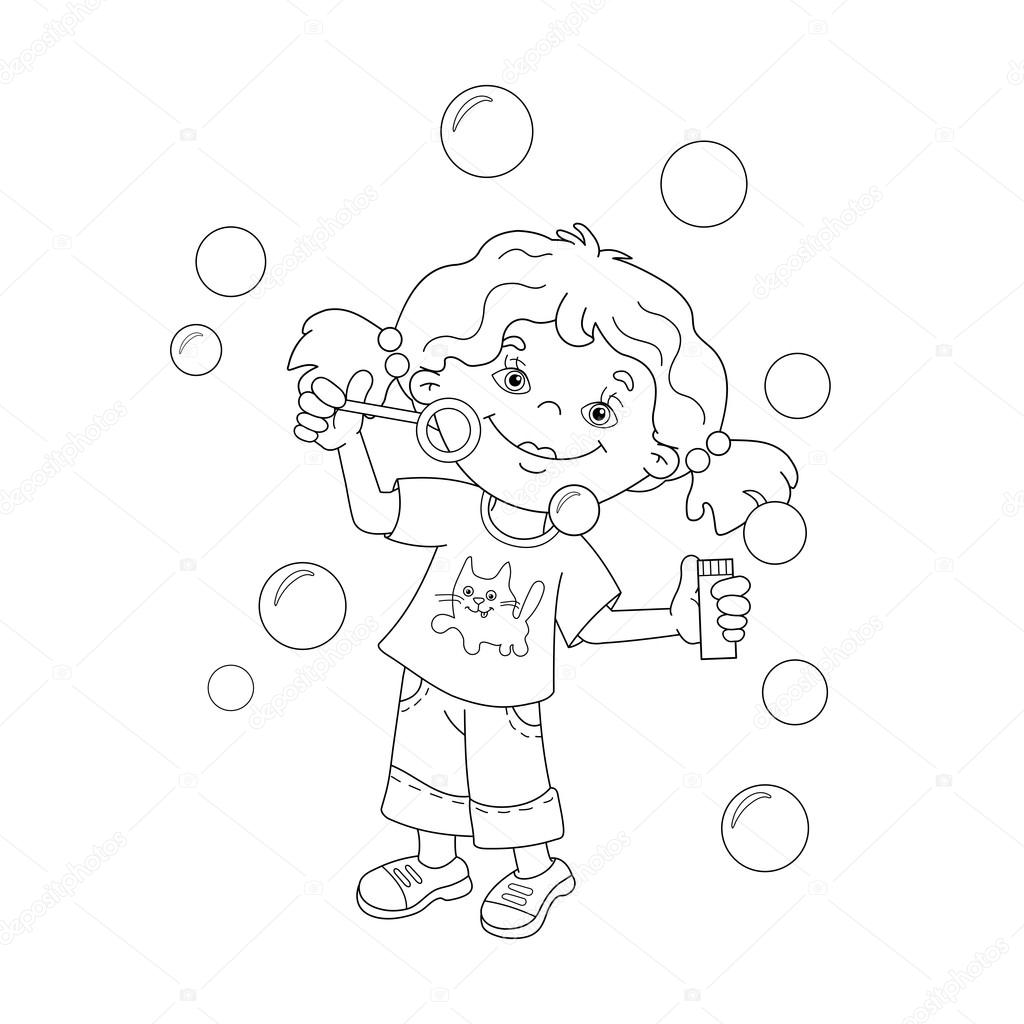 coloring page outline of cartoon girl blowing soap bubbles coloring book for kids vector by oleon17