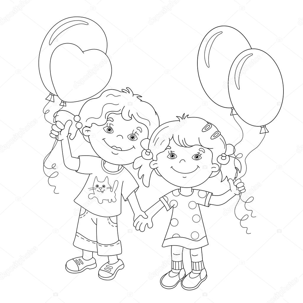coloring page outline of cartoon girls with balloons u2014 stock