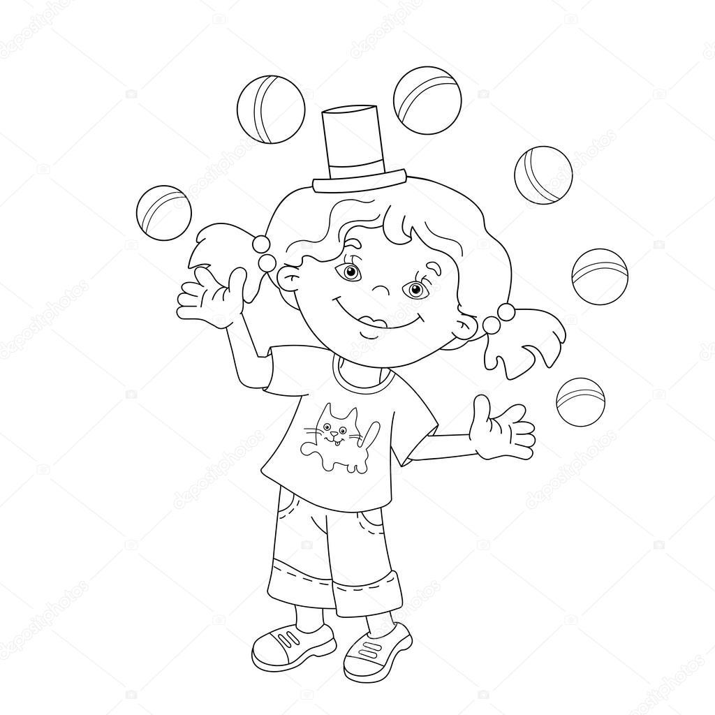 Colorear página esquema de chica las bolas de malabarismo — Archivo ...