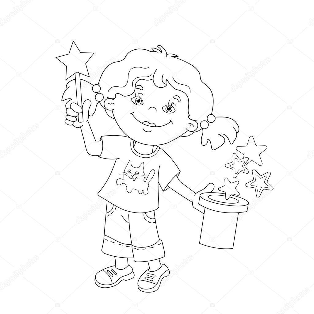 Kleurplaat Pagina Overzicht Van Cartoon Meisje Tonen De Truc