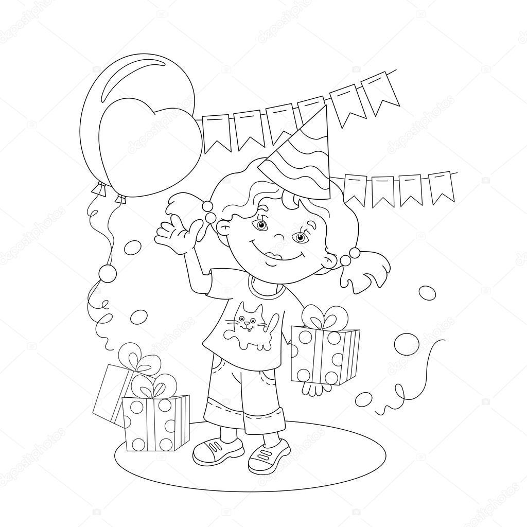Para colorear esquema de página de la chica con un regalo en el día ...