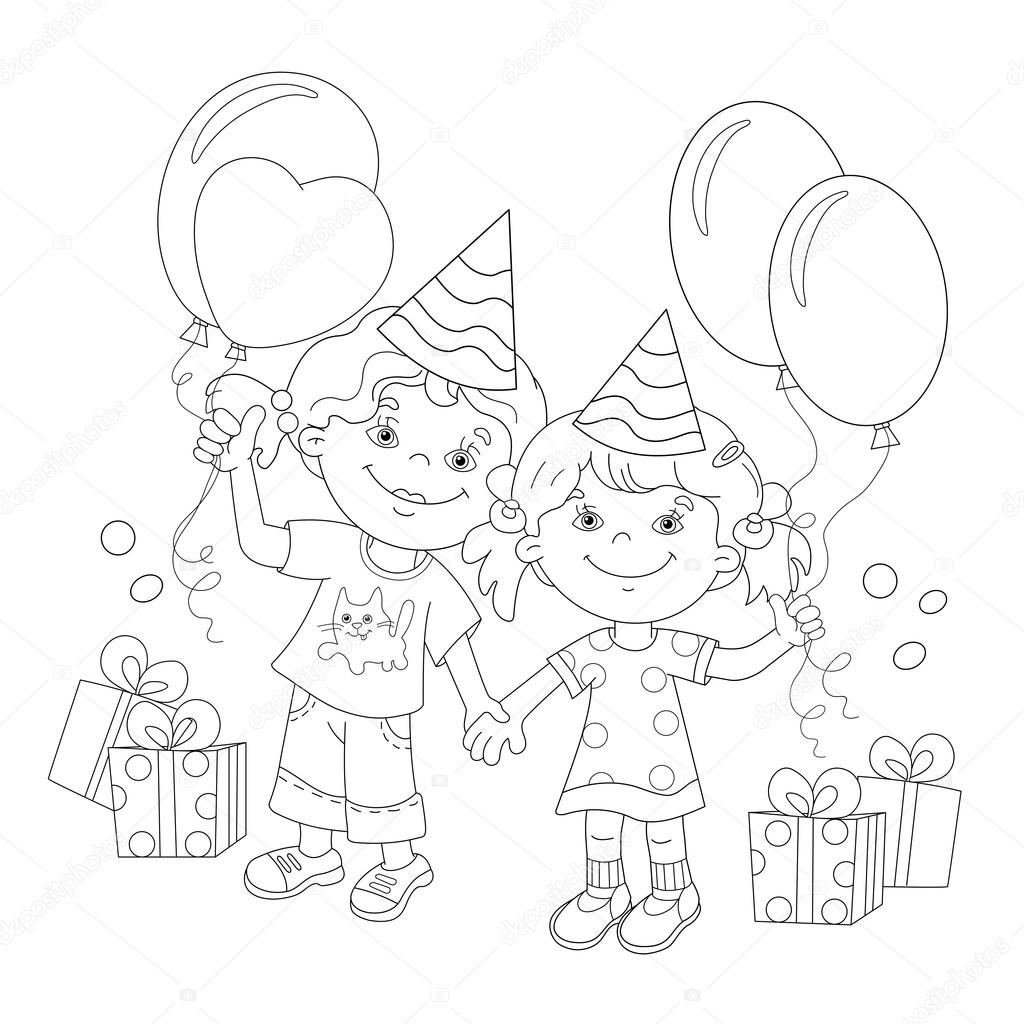 Colorear página esquema de niñas de dibujos animados con un regalo ...