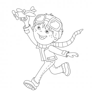 Coloring Page Outline Of cartoon boy with toy plane