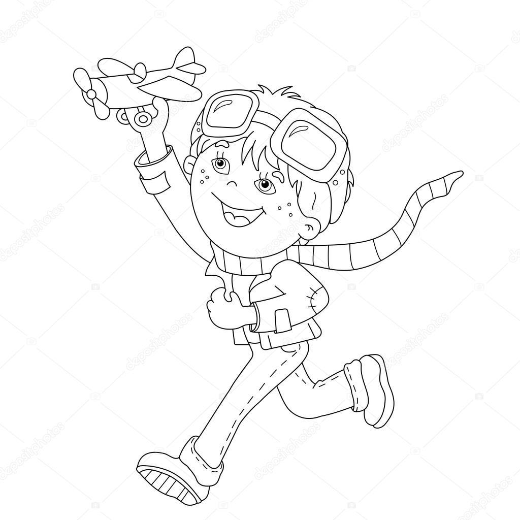 Sayfa Anahat çizgi Film çocuk Oyuncak Uçak Ile Boyama Stok Vektör