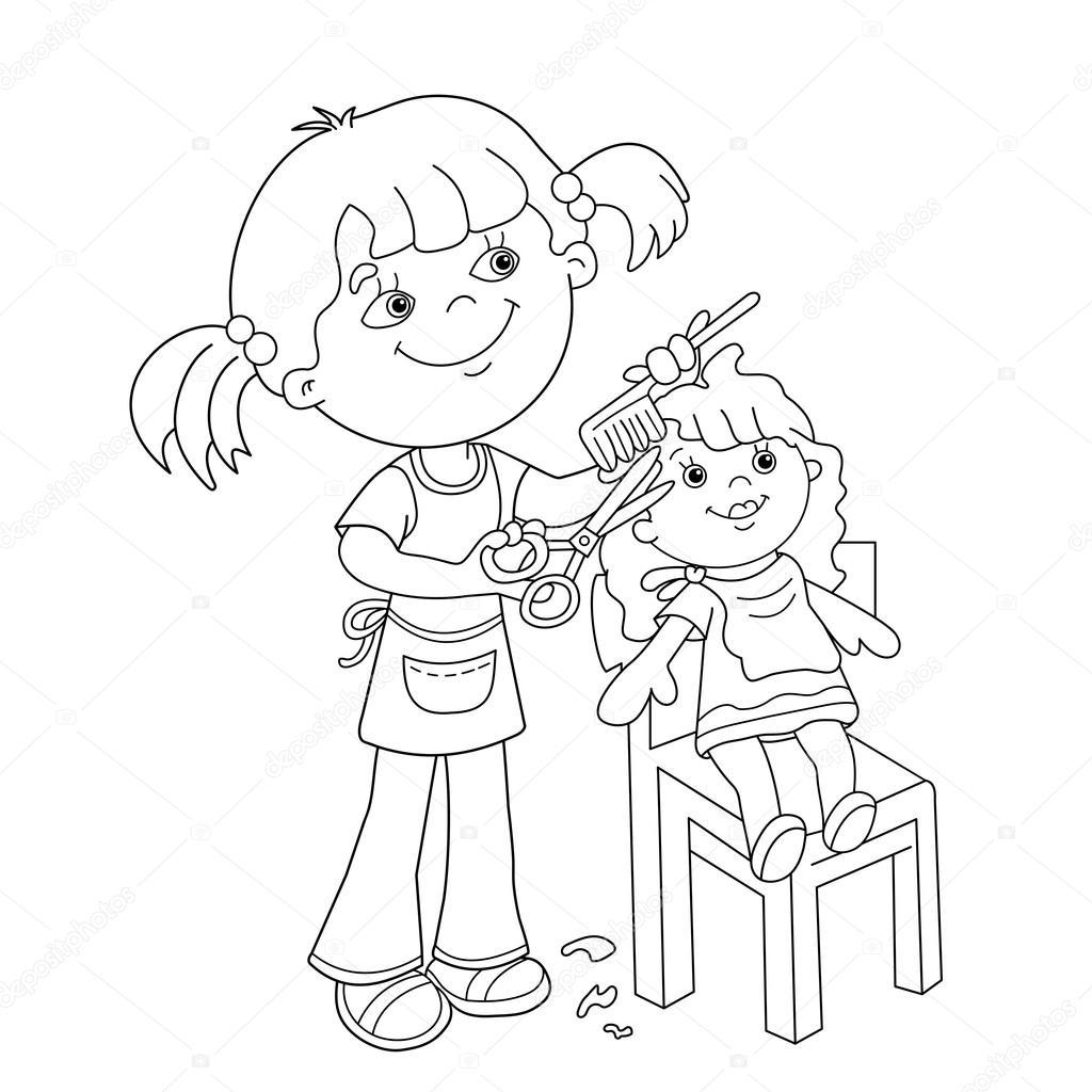 kleurplaat pagina overzicht meisje met spelen in de