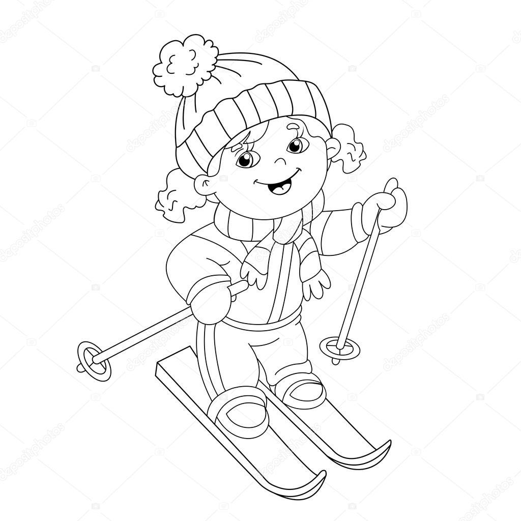 Kleurplaat Pagina Overzicht Van Cartoon Meisje Rijden Op Ski S