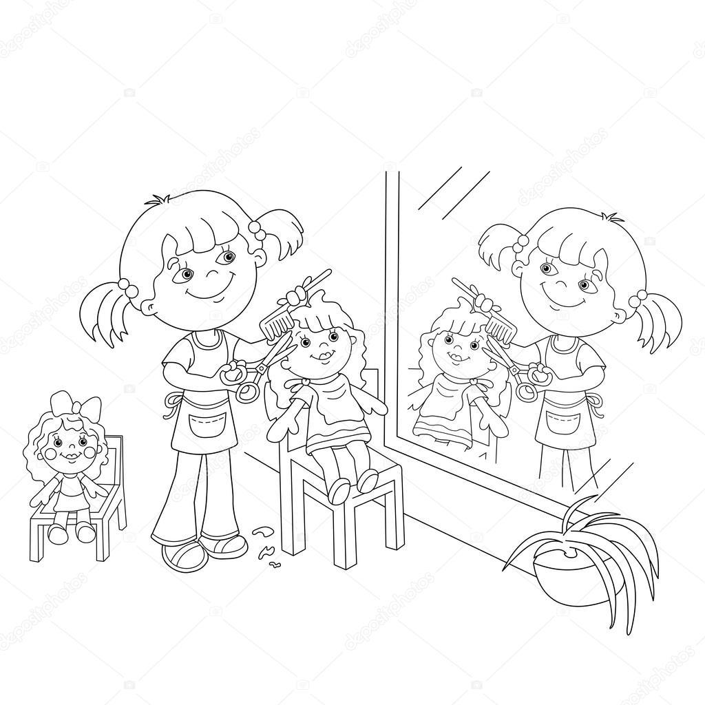 Niños Jugando Con Carritos Para Colorear Colorear Página Esquema