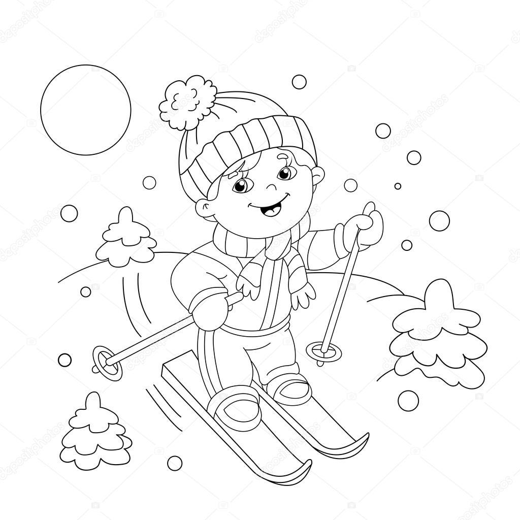 Colorear página contorno de dibujos animados chico montando en motos ...