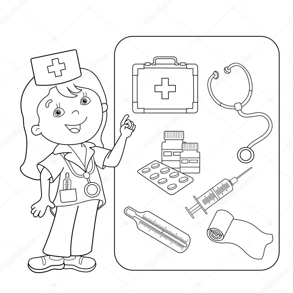 kleurplaat pagina overzicht arts met ehbo kit