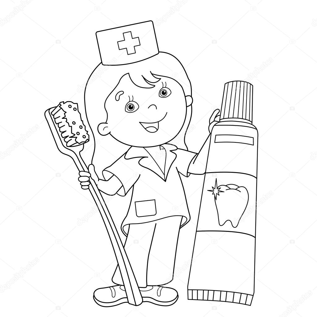 Sayfa Anahat Doktor Ve Diş Fırçası Ve Diş Macunu Ile Boyama Stok