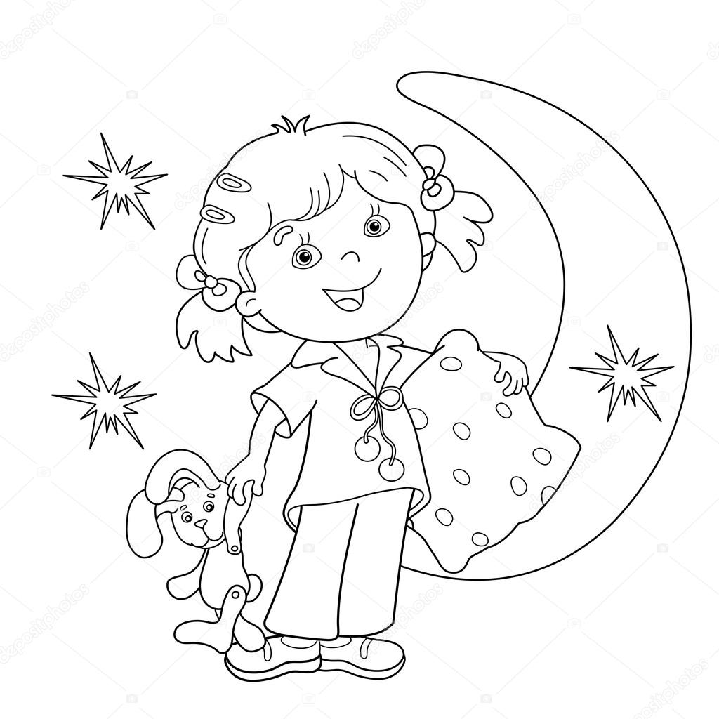 Coloring Page Outline Of Cartoon Girl In Pajamas With Pillow Stock