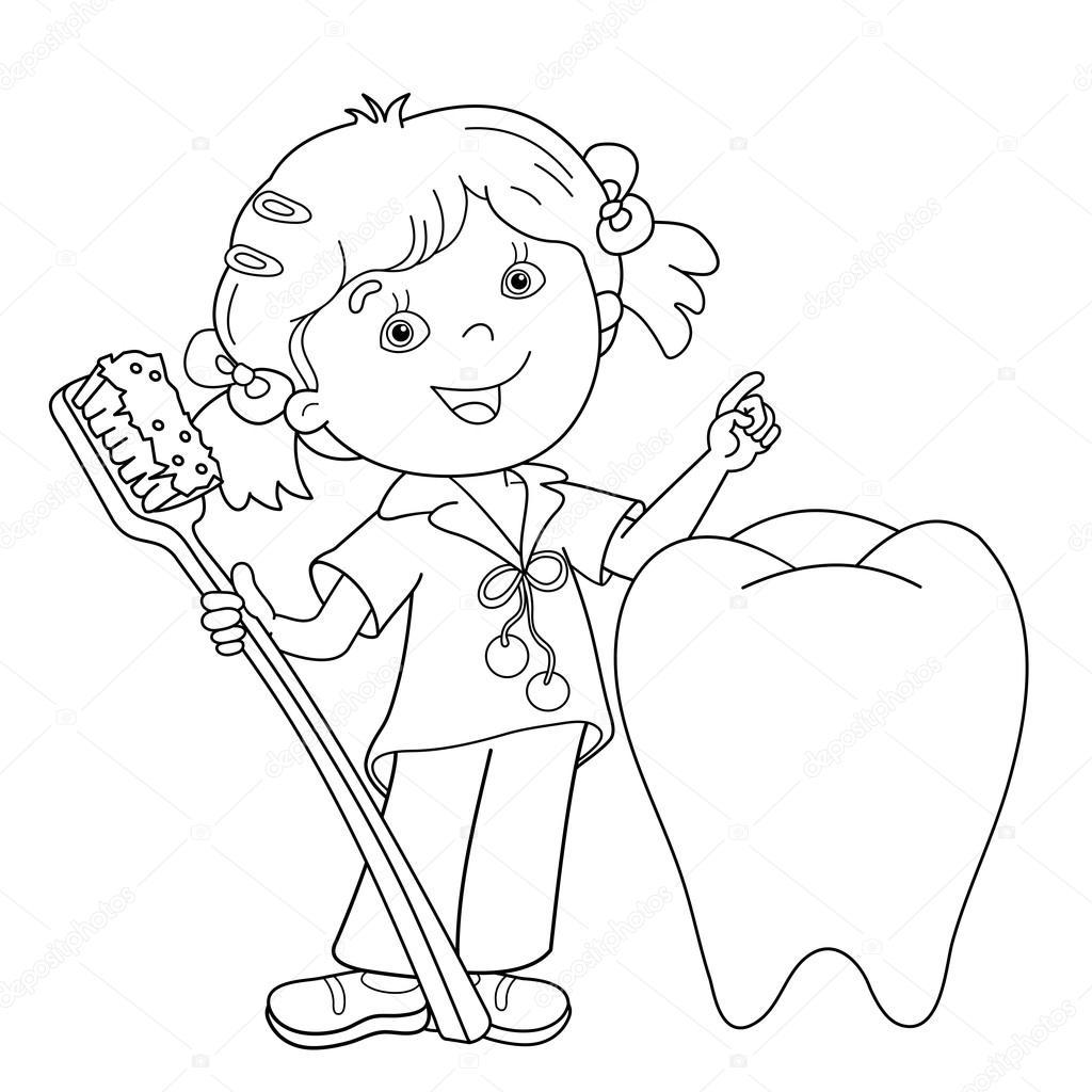 Sayfa Anahat Diş Fırçası Kızla çizgi Film Boyama Stok Vektör