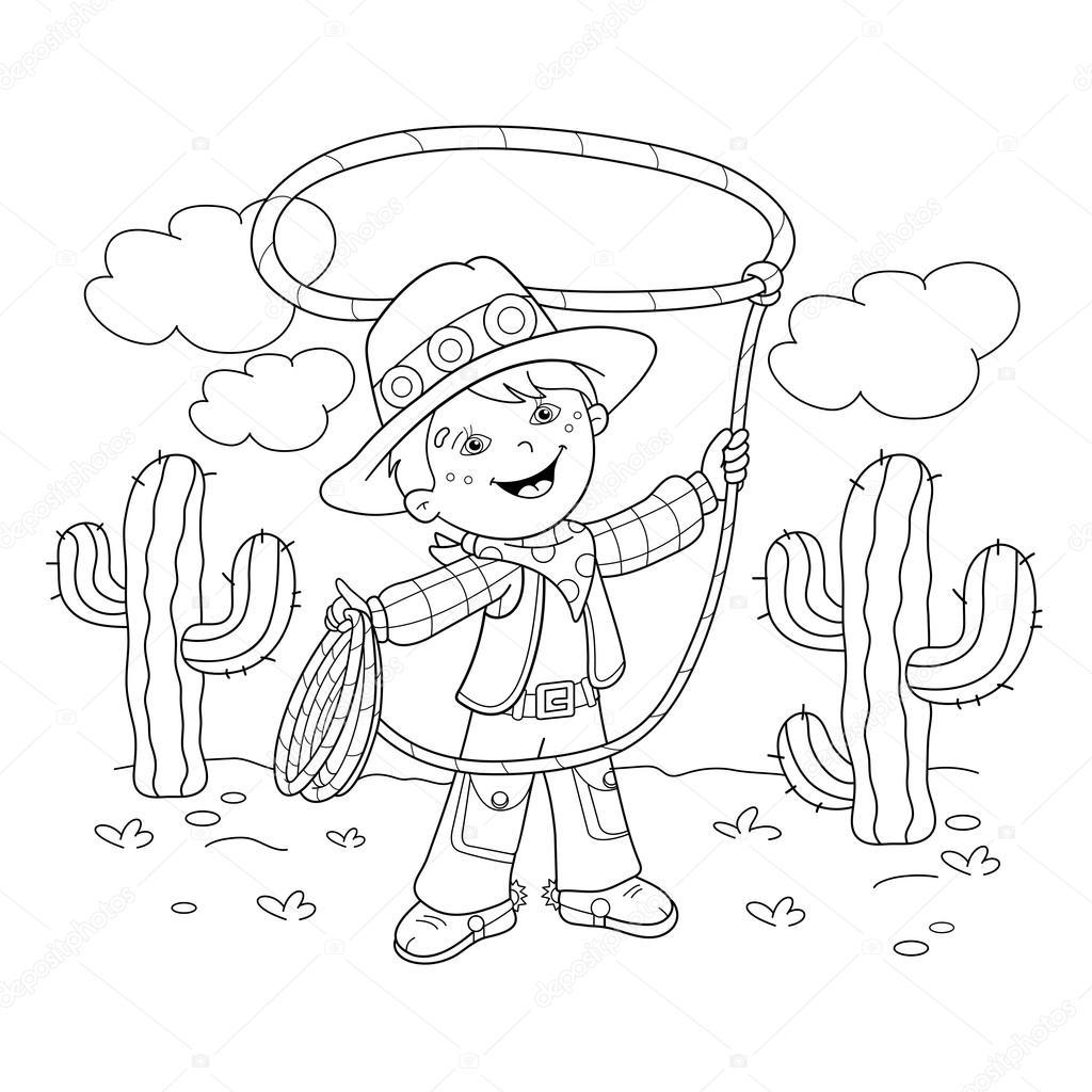 Colorear página esquema de vaquero de dibujos animados con lazo ...