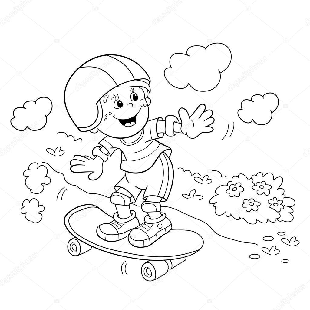 Boyama Sayfa Anahat çizgi Film çocuk Kaykay Stok Vektör Oleon17