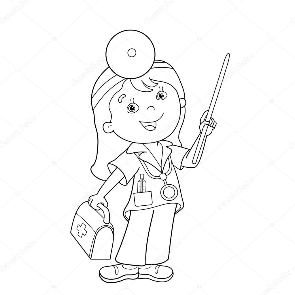 Sayfa Anahat Karikatür Doktor Ilk Yardım Kiti Ile Boyama Stok