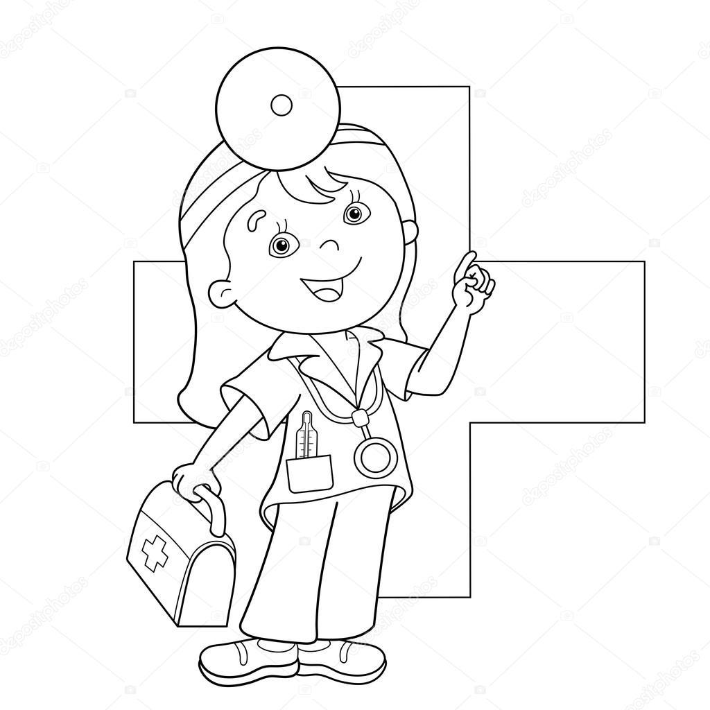 Colorear página esquema de médico de dibujos animados con equipo de ...