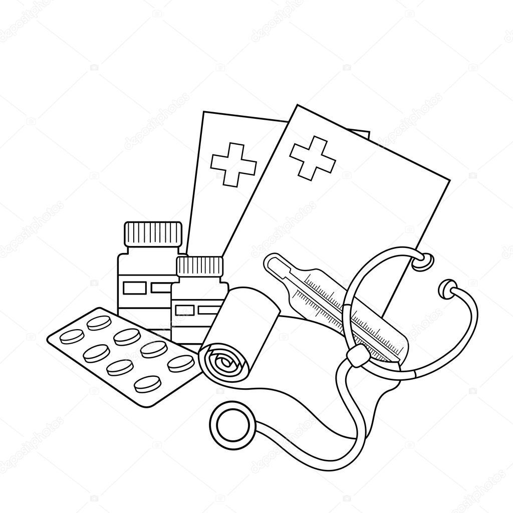 Colorear el contorno de la página de instrumentos médicos. Insignia ...