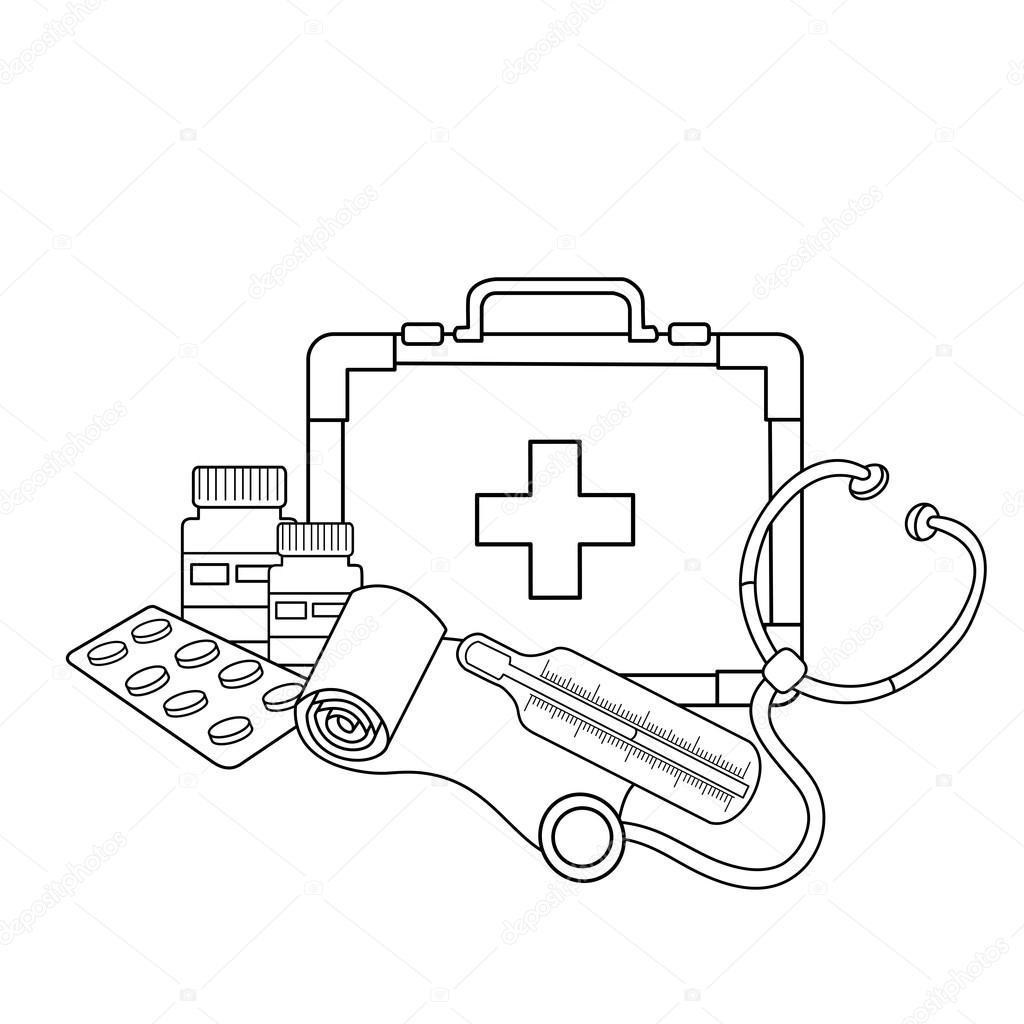 desenho de página para colorir de instrumentos médicos