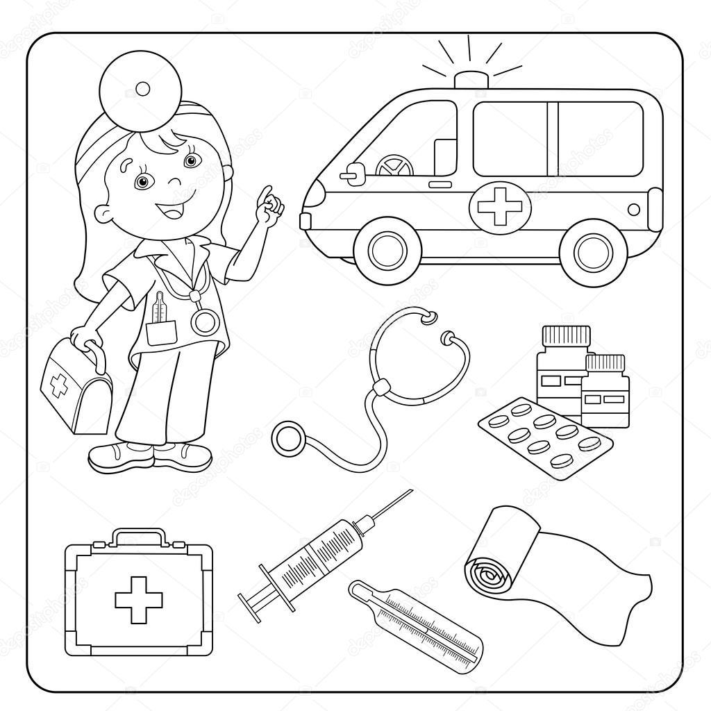 Boyama Sayfa Anahat Doktor Tıbbi Araç Kümesi Stok Vektör