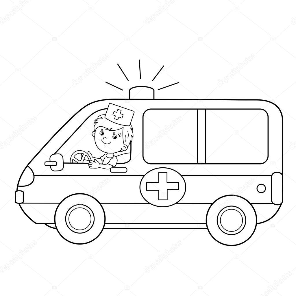 Kleurplaat Pagina Overzicht Van Cartoon Arts Met Ambulance Auto