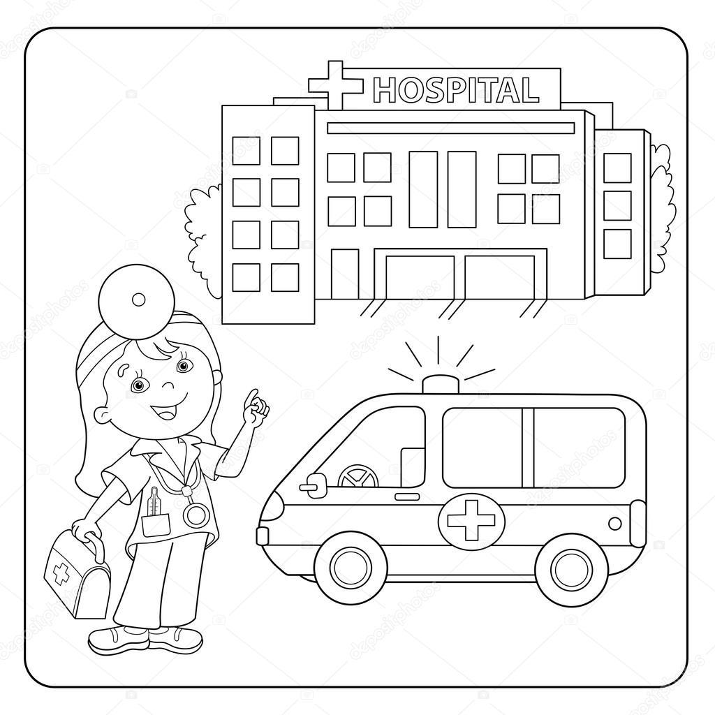 Kleurplaat pagina overzicht van arts. Ambulance auto. Ziekenhuis ...