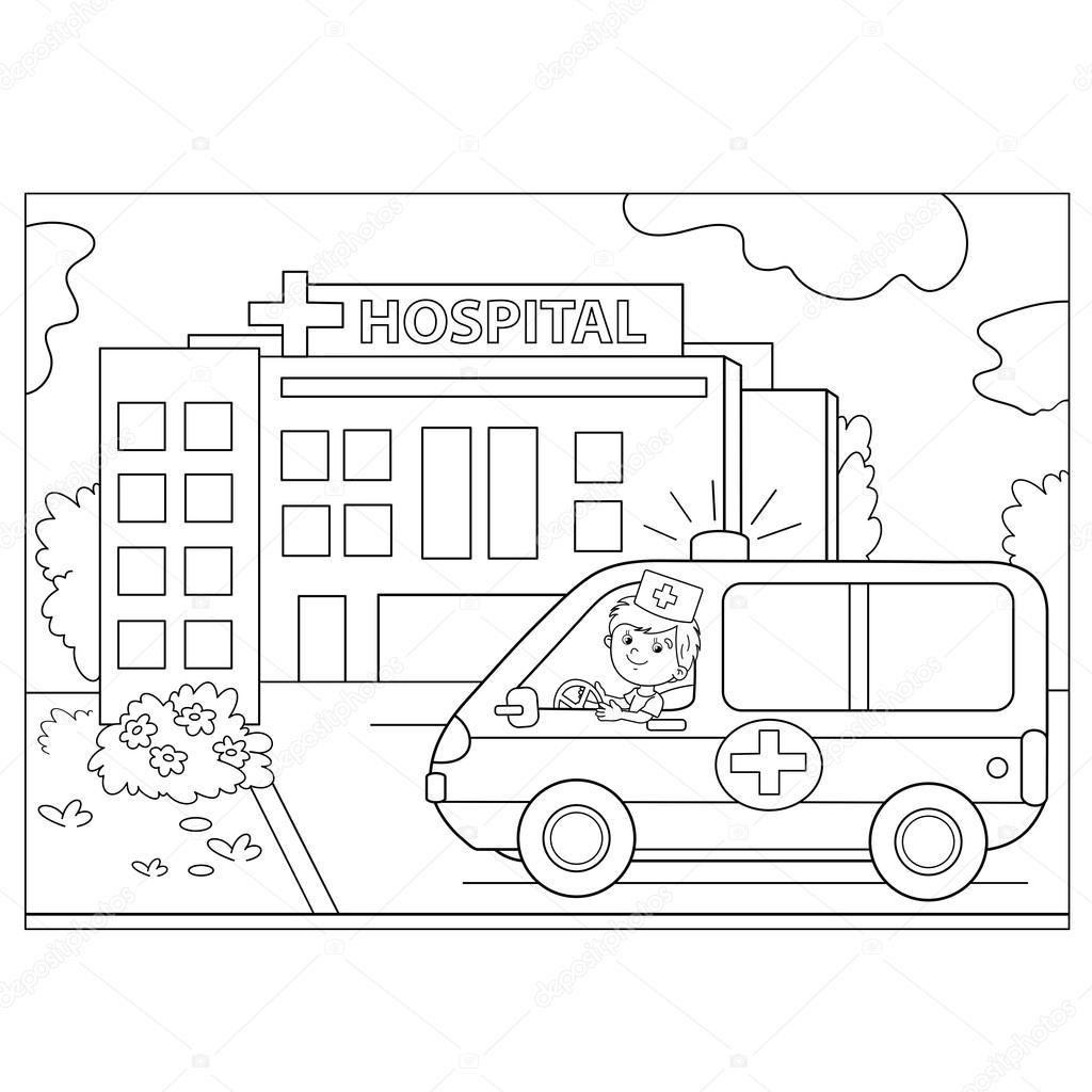 Kleurplaat Pagina Overzicht Van De Auto Van De Ambulance In De Buurt