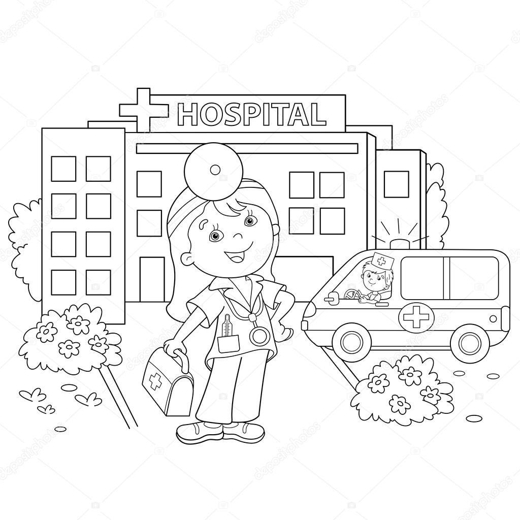 Dibujos Hospitales Para Niños Colorear Página Esquema De