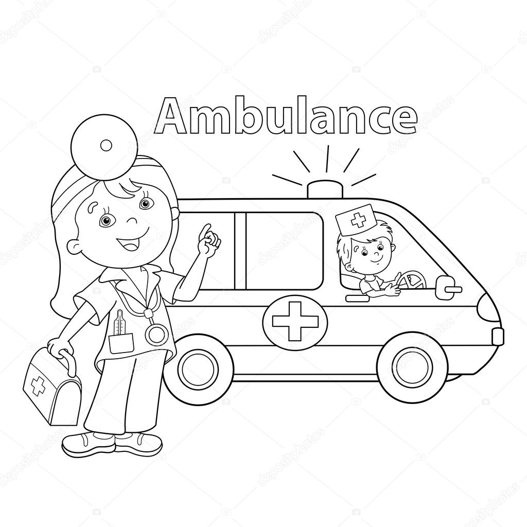 coloring page outline of cartoon doctor with ambulance car u2014 stock