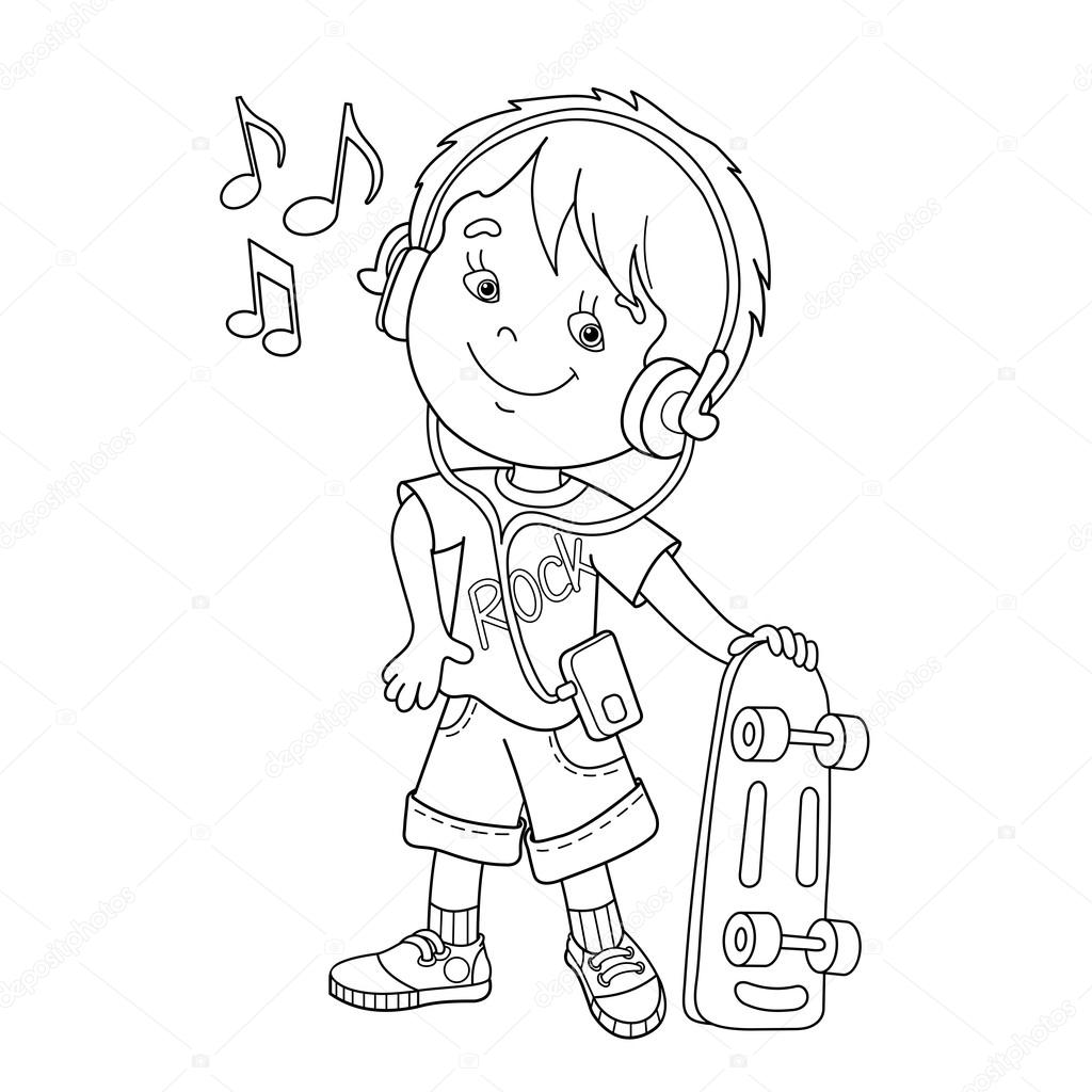 coloring page outline of boy in headphones with skateboard listening to music coloring book for kids stock illustration