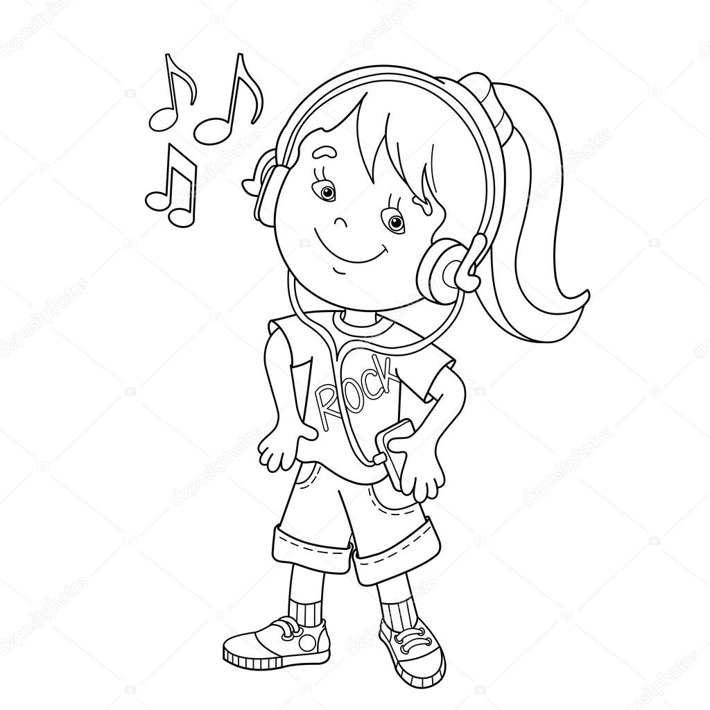 Coloring Page Outline Of girl in headphones listening to to music ...