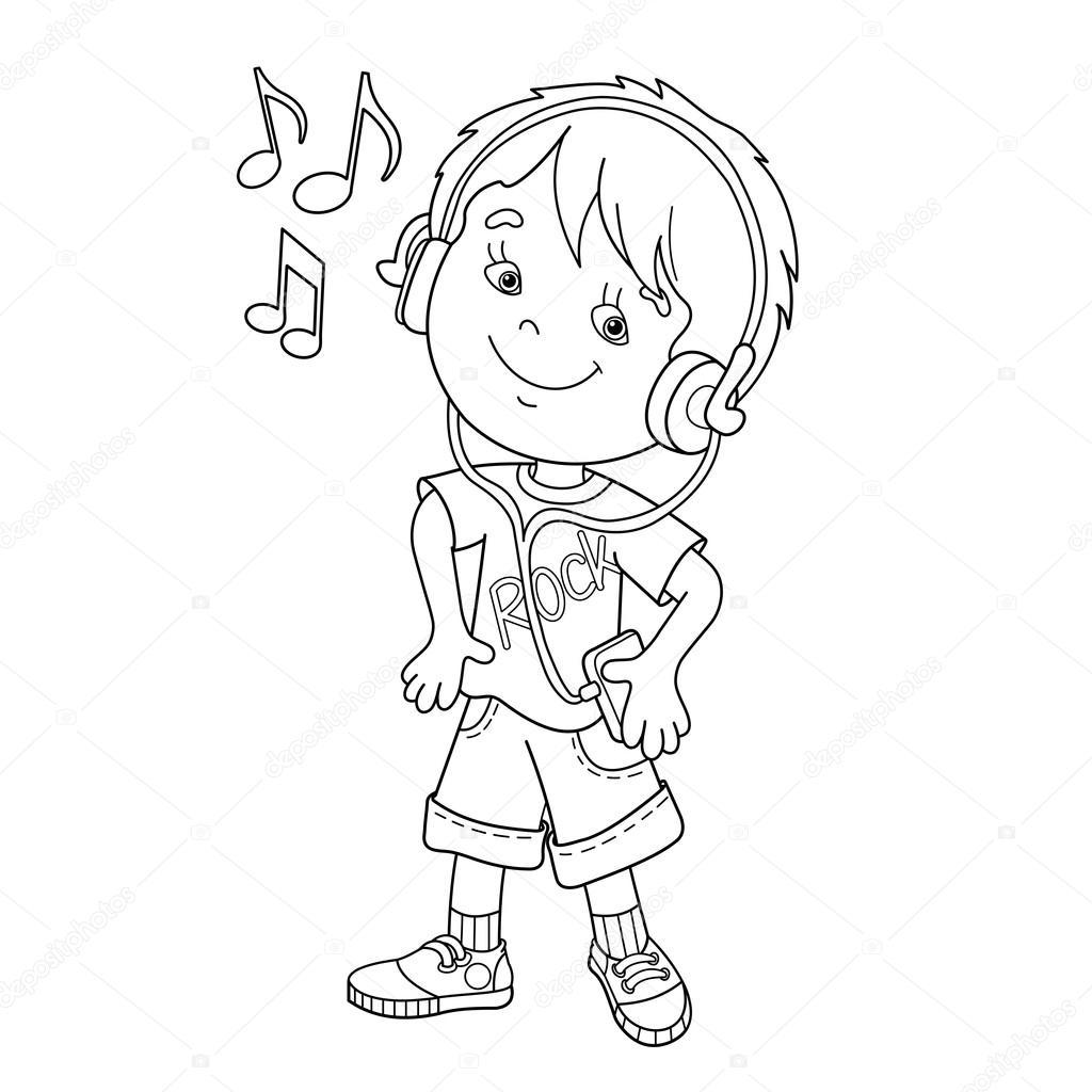 音楽を聴くヘッドフォンのページのアウトラインの男の子のぬりえ子供の