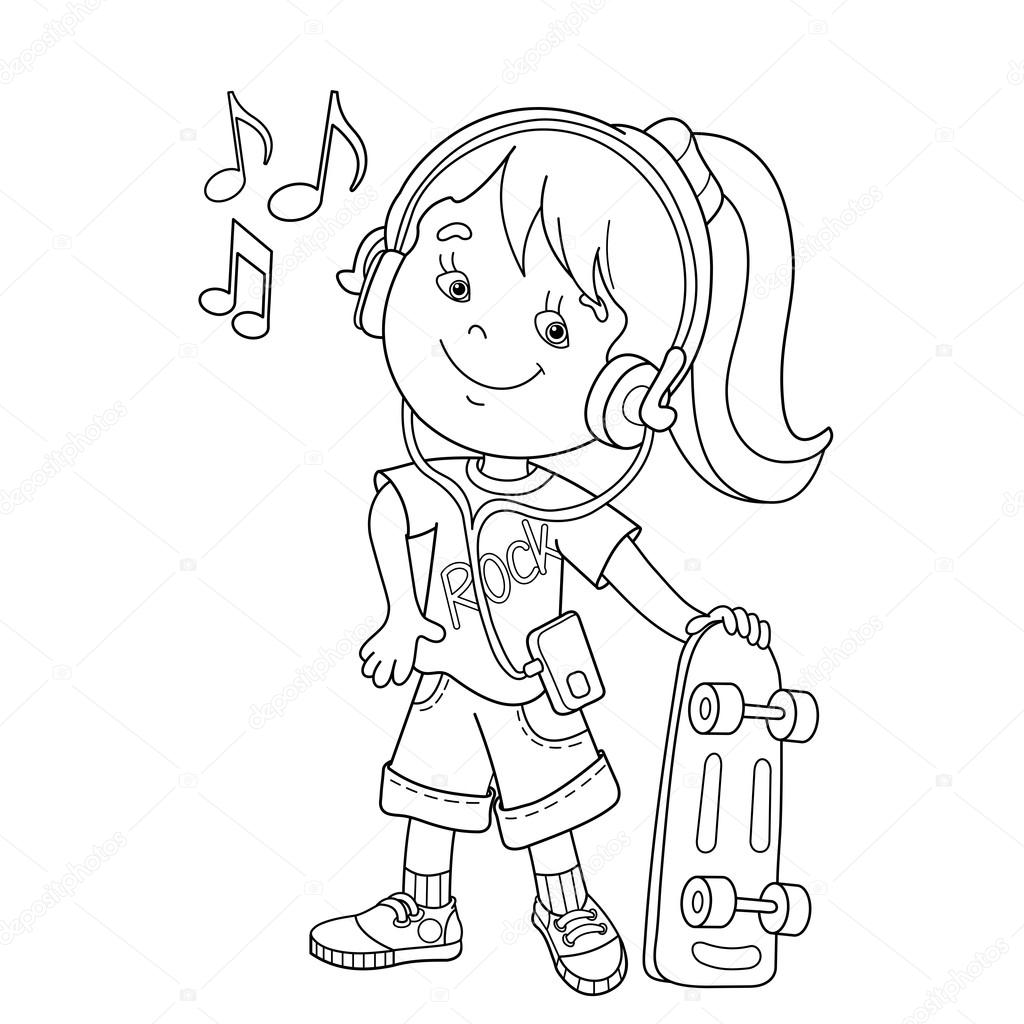Coloring Page Outline Of girl in headphones with with skateboard
