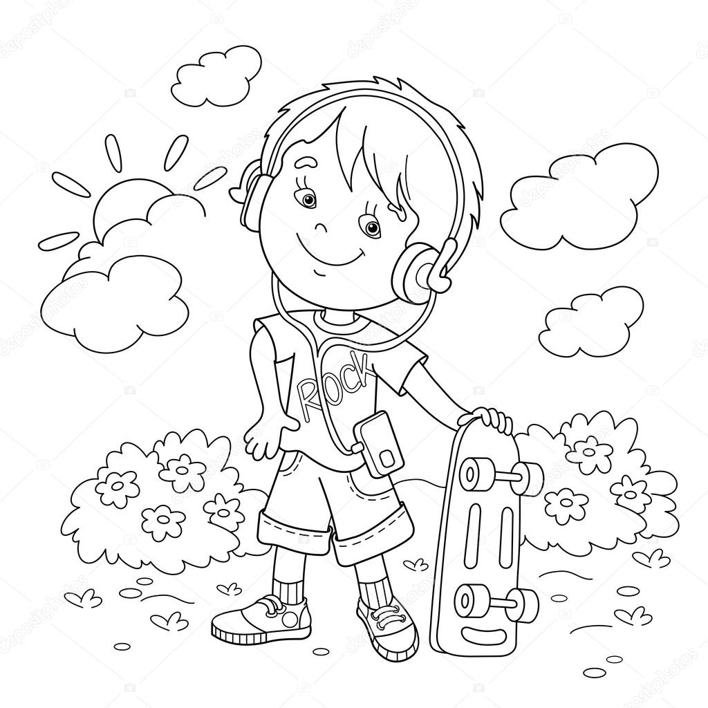 Coloring Page Outline Of boy in headphones with skateboard. Coloring book for kids