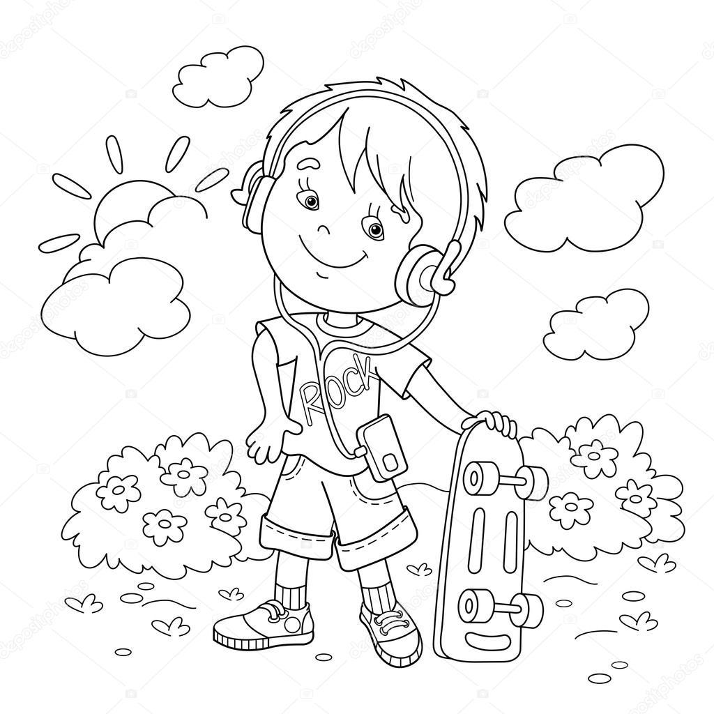 kleurplaat pagina overzicht jongen in hoofdtelefoon